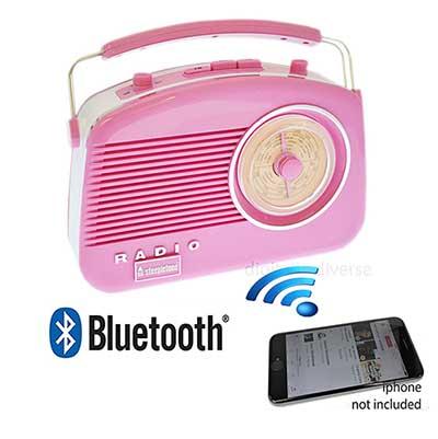 Steepletone Bluetooth Brighton 3 band portable radio pink