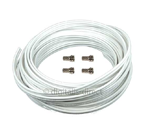 white twin coaxial tv and satellite cable all lengths